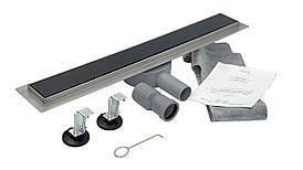 Душовий Трап гартоване скло 700*70 мм, Nero Glass Black (Італія) з поворотним сифоном під плитку