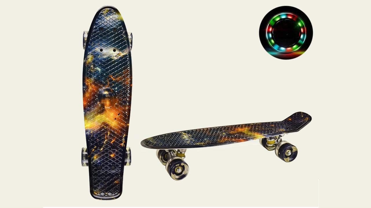 Скейт Пенні борд 22 SC20417 Колеса PU, світло, односторонній принт