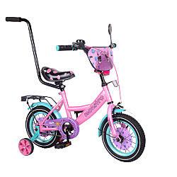 """Велосипед TILLY Monstro 12"""" 2-х колісний pink blue зі дзвінком з ручним гальмом T-21229/1"""