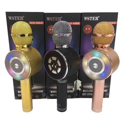 Караоке мікрофон Wster WS-669 бездротовий мікрофон з вбудованим динаміком (USB, microSD, AUX, Bluetooth)