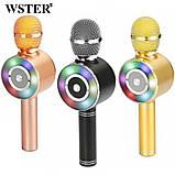 Караоке мікрофон Wster WS-669 бездротовий мікрофон з вбудованим динаміком (USB, microSD, AUX, Bluetooth), фото 2