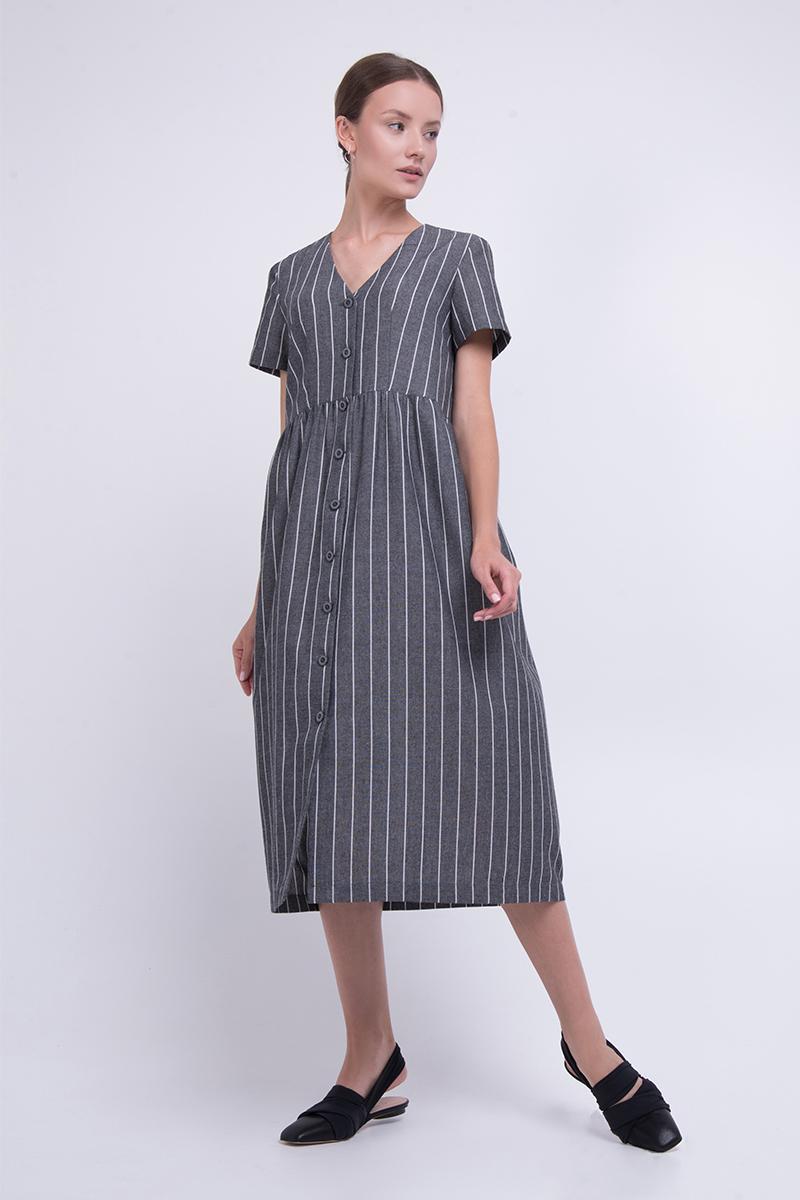 Літнє плаття з льону в смужку сіре Lesya Манук 2