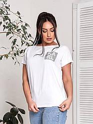 Женская футболка хлопок с рисунком на лето 48-54