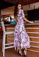 Летнее платье  сарафан в цветочный принтом