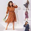 Р 42-56 Шифонова сукня в квітковий принт середньої довжини Батал 23698-1