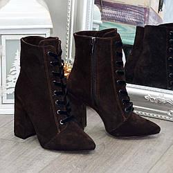 Замшеві черевики жіночі на високому підборі. Колір коричневий