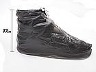 Бахилы для обуви от дождя снега грязи VOLRO L многоразовые с молнией и шнурком-утяжкой Black (vol-401), фото 3