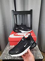 Мужские кроссы в черном цвете Nike Air Max 270. Спортивные кроссы Найк Аир Макс 270 мужские с белой подошвой