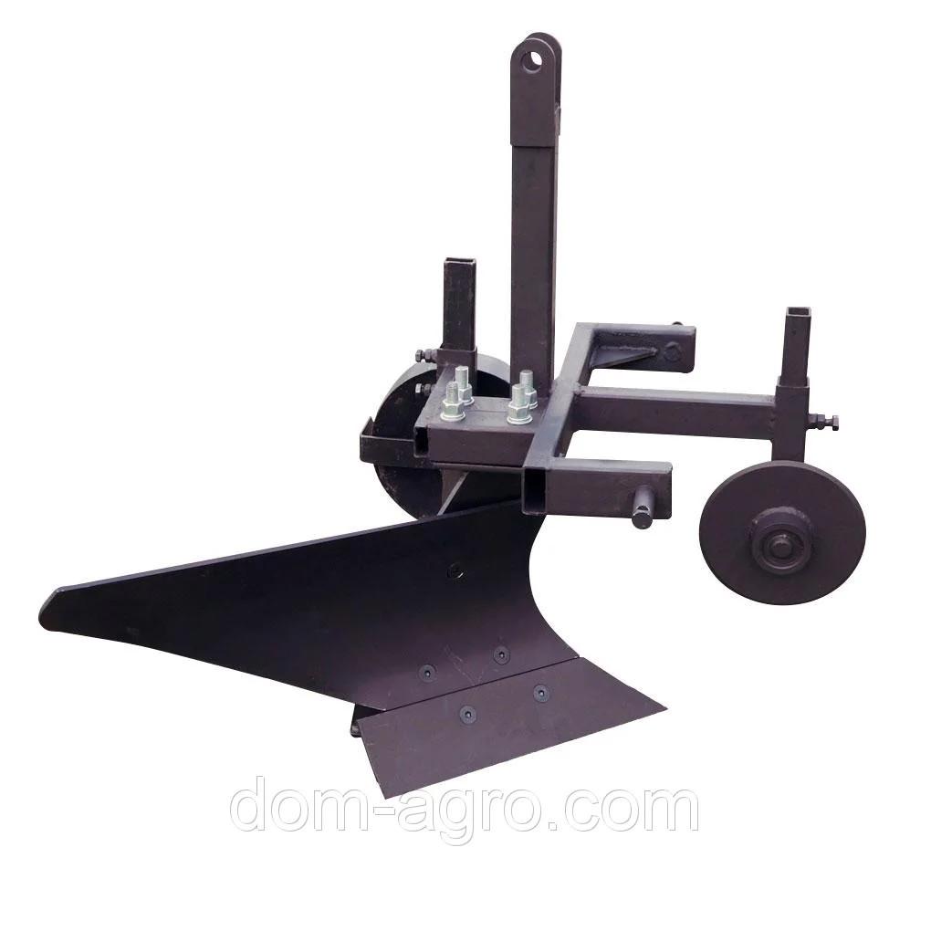 Плуг однокорпусный для минитрактора Премиум  (опорное колесо, прицепное 3 точки, дисковый нож)