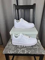 Мужские кроссы Найк АФ-1 Аир Форс белые Кроссовки Nike Air Force 1 White 07 Classic на каждый день весенние