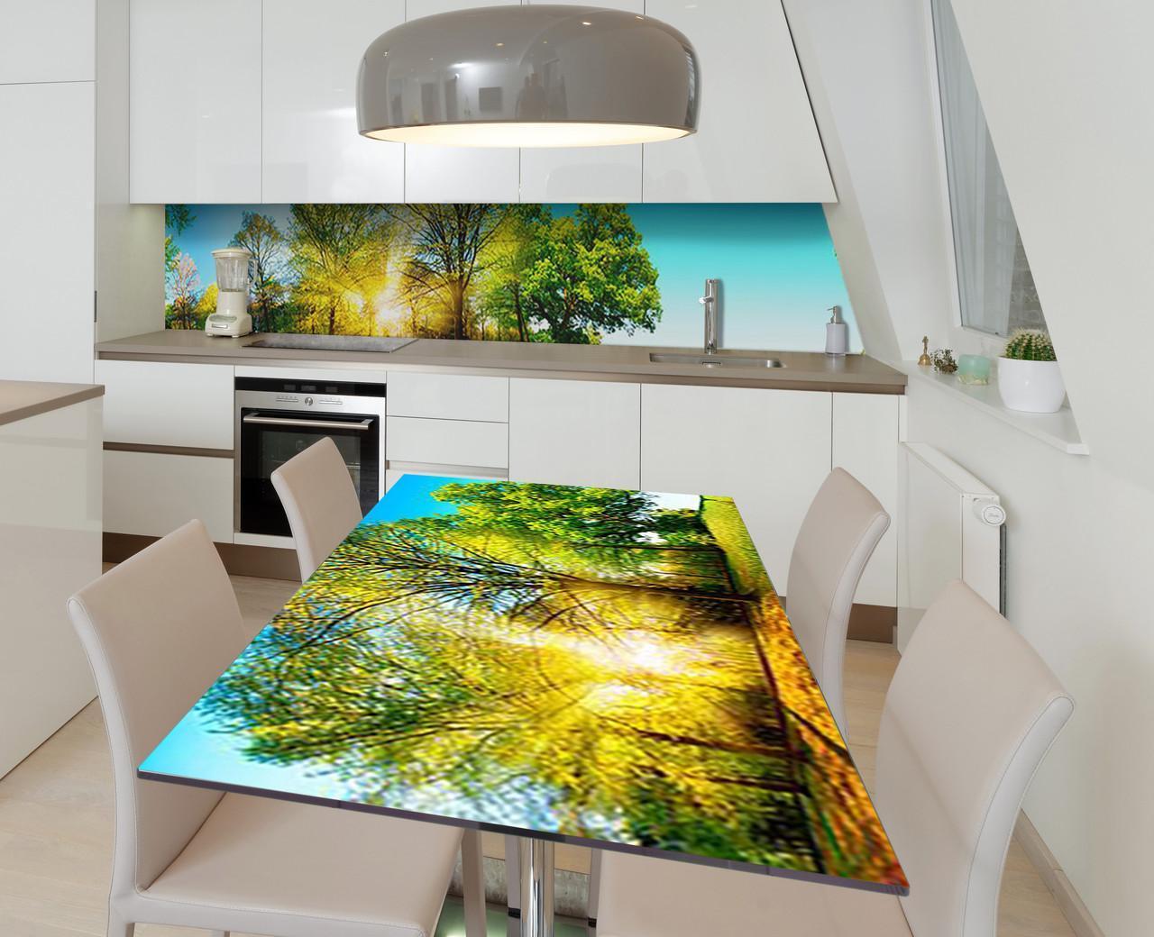 Наклейка 3Д виниловая на стол Zatarga «Зелёный рассвет» 650х1200 мм для домов, квартир, столов, кофейн, кафе