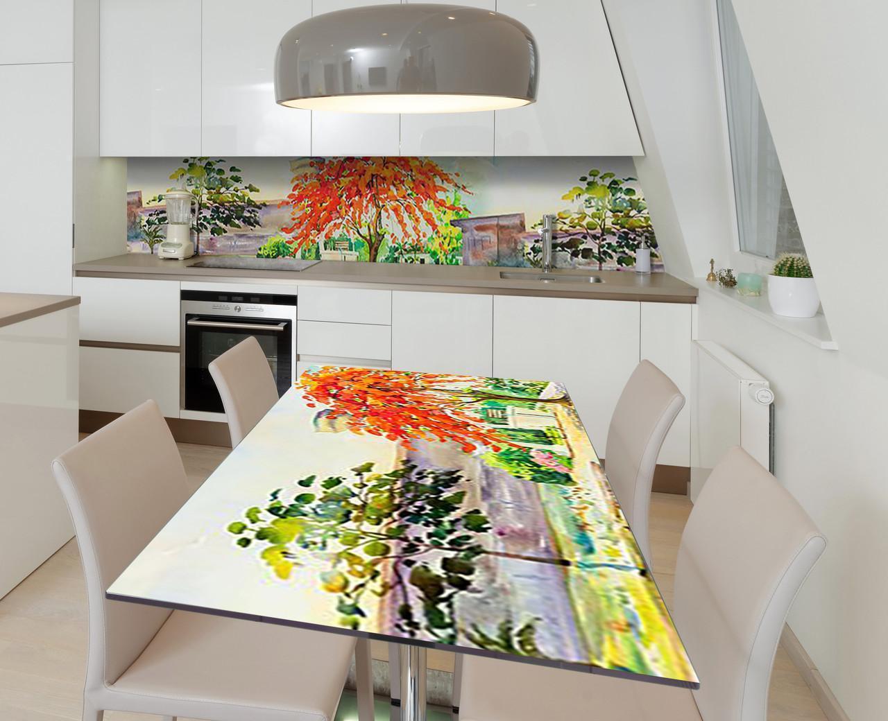 Наклейка 3Д виниловая на стол Zatarga «Акварельный парк» 600х1200 мм для домов, квартир, столов, кофейн, кафе