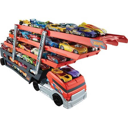Трейлер Хот Вилс Большой автовоз на 50 машин Грузовик-транспортер Hot Wheels Mega Hauler, фото 2