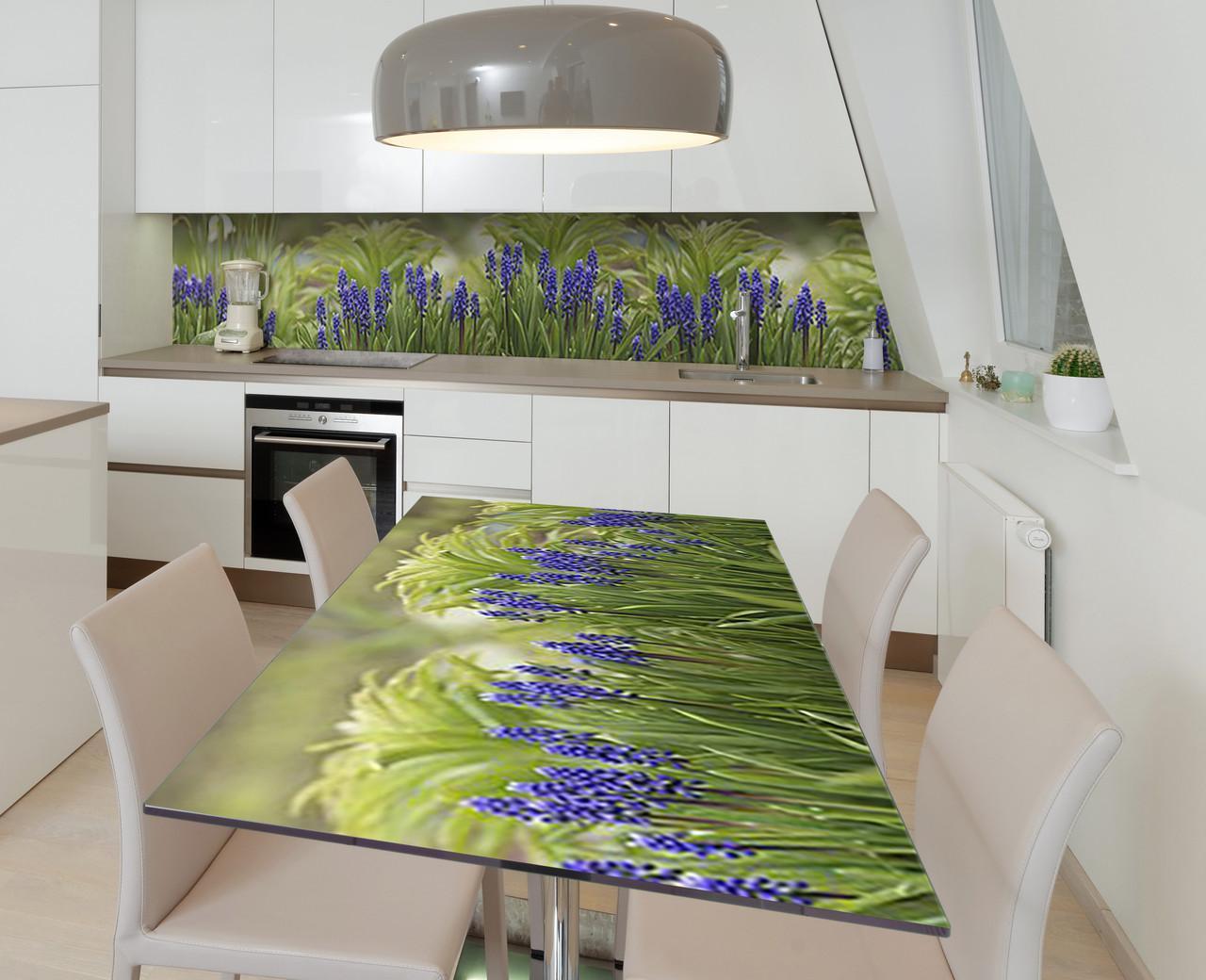 Наклейка 3Д вінілова на стіл Zatarga «Сапфіровий гіацинт» 600х1200 мм для будинків, квартир, столів, кофеєнь,