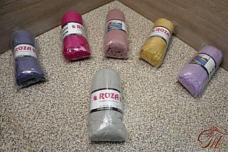Махрове простирадло на резике Roza світло-сіра 180х200+20 см