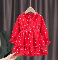 Детское платье на девочку 3-9 лет легкое шифоновое платье красное 104, 110, 122, 128 см