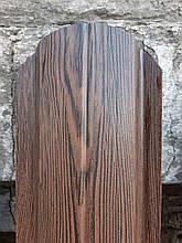Евроштакетник металлический штакетник темное дерево 3д Венге