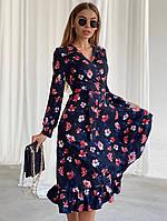 Платье миди на запах в цветочный принт, с оборками и длинным рукавом (р. 42-46) 22PL1595