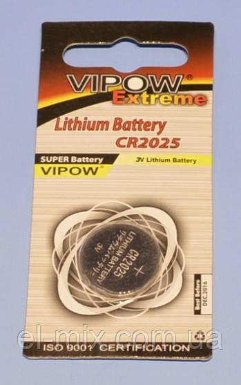 """Батарейка CR2025 литиевая """"Vipow"""" extreme  блист.=1шт  BAT0195"""