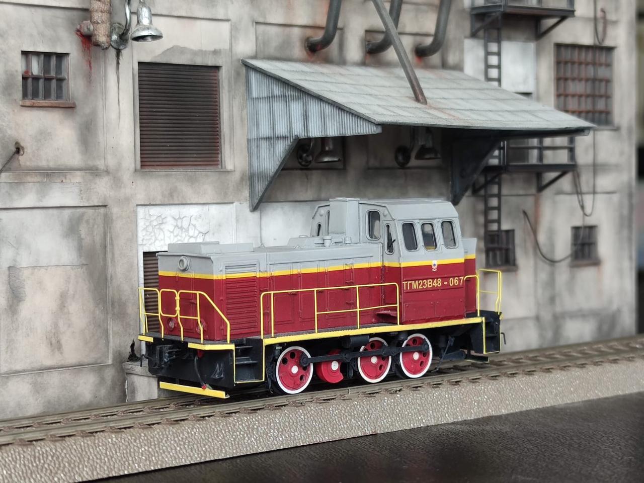 Збірна модель маневрового локомотива серії ТГМ23, масштабу 1/87, H0