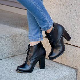 Модные черные ботильоны  из натуральной кожи на устойчивом каблуке размер от 35 до 41