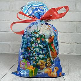 Новогодняя подарочная упаковка для конфет 20см 35см Дед Мороз и белки (100 шт)