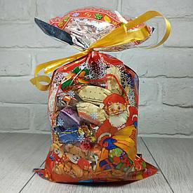 Новогодняя подарочная упаковка для конфет 20см 35см Дед Мороз и медведи (100 шт)