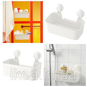 Полка прямая IKEA TISKEN пластиковая белая с вакуумными присосками, стелаж для ванной ИКЕА ТІСКЕН