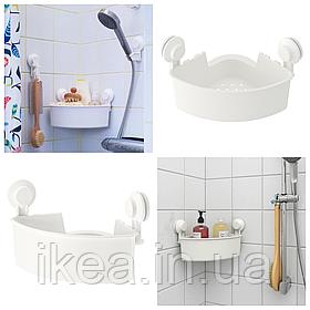 Полка угловая IKEA TISKEN пластиковая белая с вакуумными присосками, стелаж для ванной ТIСКЕН ИКЕА