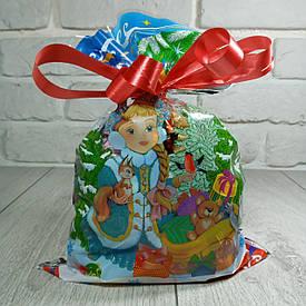 Новогодняя подарочная упаковка для конфет 20см 30см Снегурочка и зверятки (100 шт)