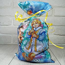 Новогодняя подарочная упаковка для конфет 20см 35см Снегурочка с белкой (100 шт)