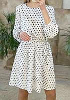Женское модное удобное повседневное весеннее Платье миди в горошек беби долл с длинными рукавами и поясом