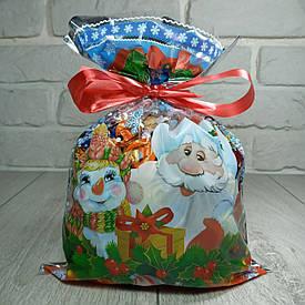Фольгированный пакет для конфет 20см 30см Дед Мороз и Снеговик (100шт)