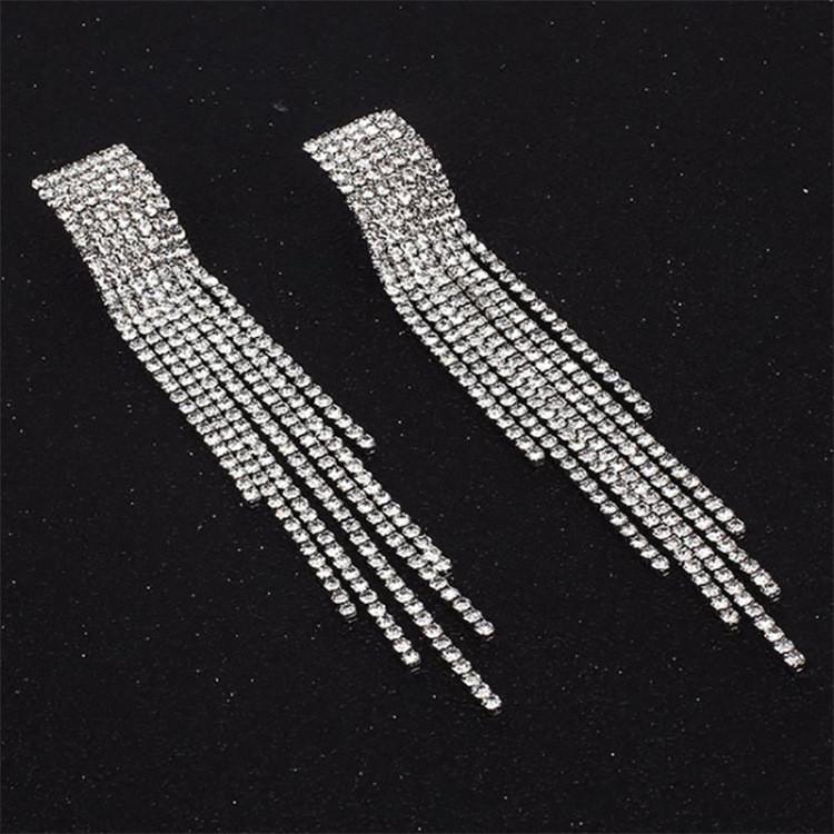 Серьги со стразами кристаллами вечерние сережки длинные