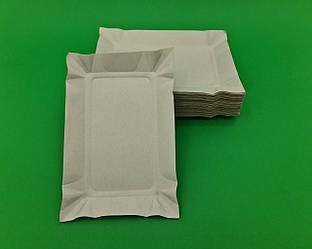 Тарелки одноразовые бумажные 130х190х0,3 прямоугольная плотная (100 шт)
