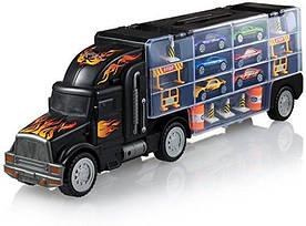 Автовоз трейлер з машинками 6 машинок, дорожні знаки, машина транспортер