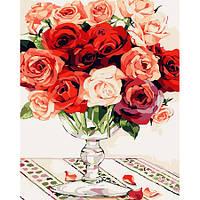 Красно-белый букет роз