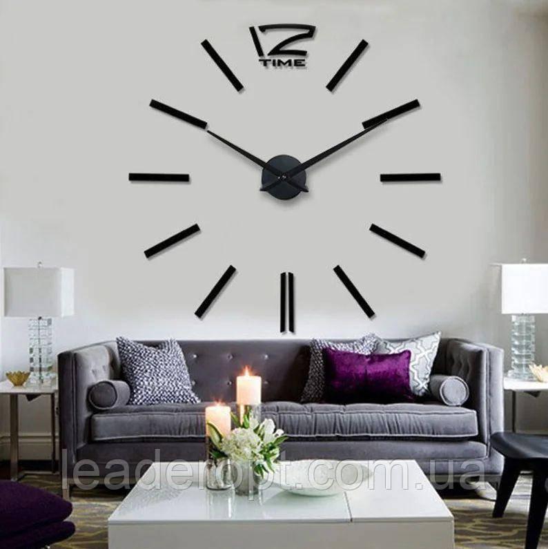 ОПТ Часы настенные 3D Time наклейки с палочками пластик черные