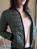 Короткая женская куртка бомбер размер 42 44 46 48 50 52 цвет хаки черный бежевый красный пудра розовый мокко