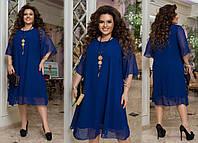 Женское нарядное платье из шифона в большом размере, фото 1