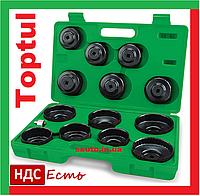 Toptul JGAI1401. 14 предметов. Набор съемников для откручивания масляного фильтра, чашек масляных фильтров