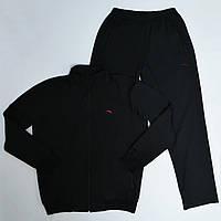 Большие размеры: 52/54/56/58. Мужской спортивный костюм ST-BRAND / Трикотаж двунитка - черный