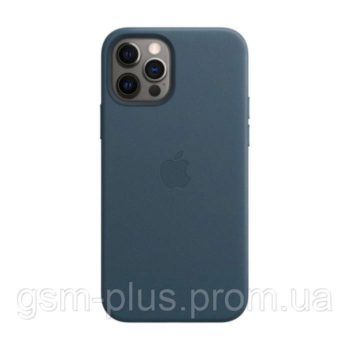Чехол leather case для iphone 12, iphone 12 pro with magsafe baltic blue
