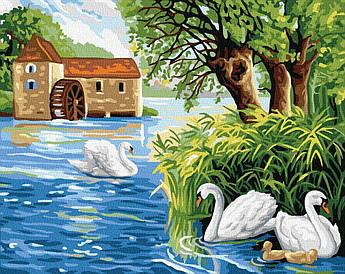 Картина малювання за номерами GX32154 Лебедине озеро 40х50см набір для розпису по цифрам