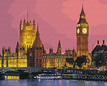 Картина малювання за номерами GX27906 Нічний Лондон 40х50см набір для розпису по цифрам