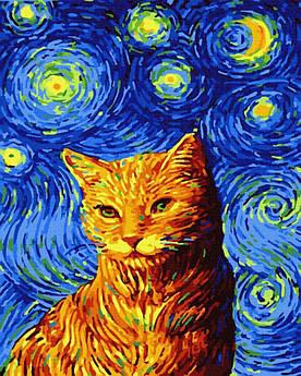 Картина малювання за номерами GX35619 Кіт у зоряну ніч 40х50см набір для розпису по цифрам