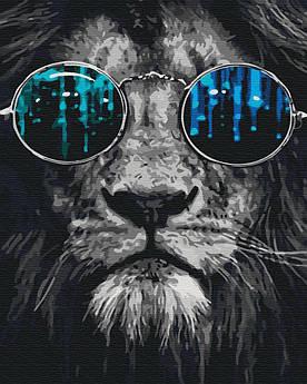 Картина малювання за номерами GX26783 Лев в окулярах 40х50см набір для розпису по цифрам
