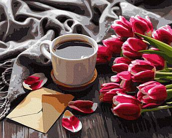 Картина малювання за номерами GX36492 Тюльпани до кави 40х50см набір для розпису по цифрам