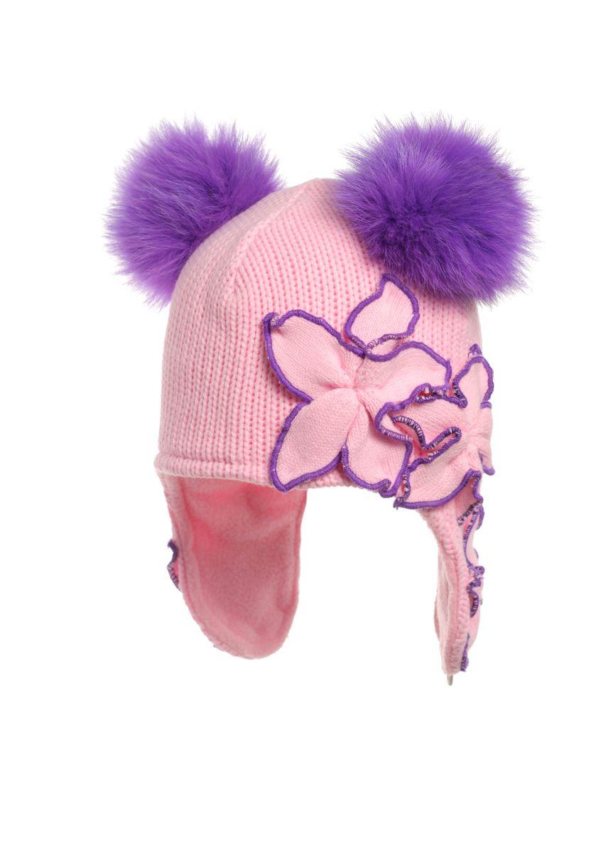 Красивая зимняя модная шапочка на флисе с меховыми помпонами.