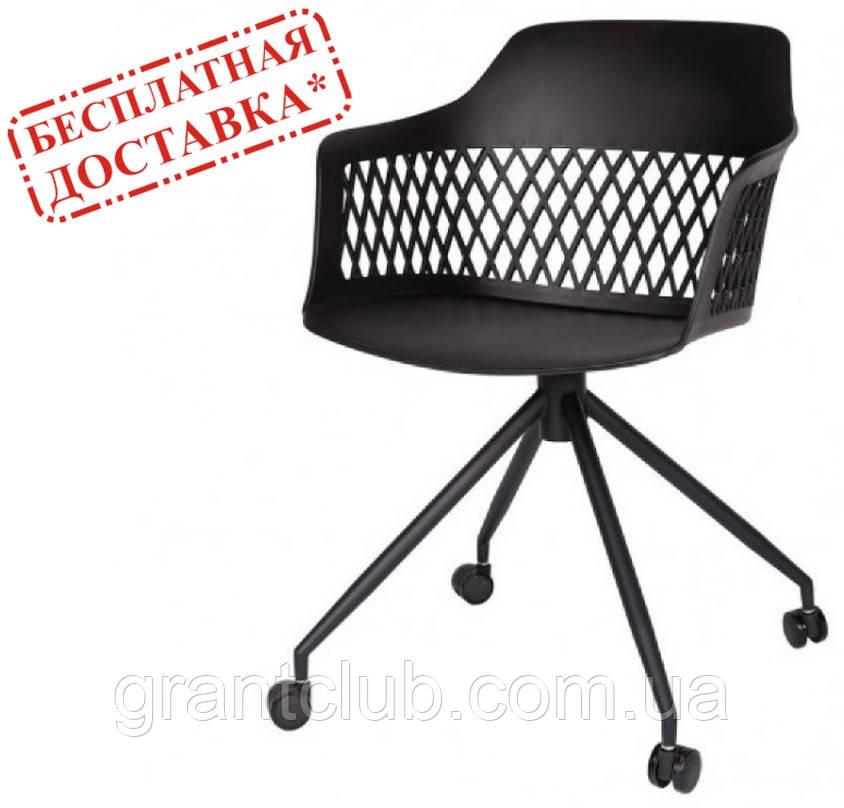 Стілець на колесах LAVANDA ROLL чорний поліпропілен (безкоштовна доставка)